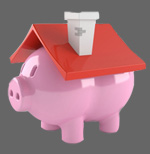 Piggy bank with a house roof